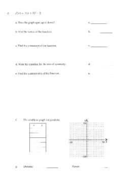 Quiz - Graphing Quadratics