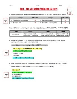 Quiz - Gravitational Potential (GPE) & Kinetic Energy (KE) Word Problems (A)