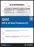 Quiz - Gravitational Potential (GPE) & Kinetic Energy (KE)