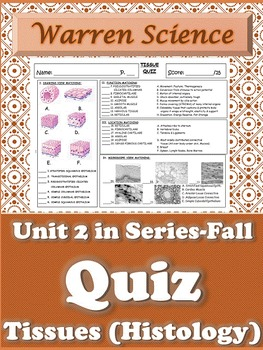 Quiz: Histology (Tissues)-Unit 2 in Series (Fall)