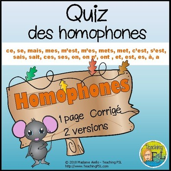 Quiz - Homophones - En Français
