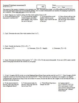 Quiz: IB Math SL Summer Worksheet Assessment 2011 - 2 versions - one page each