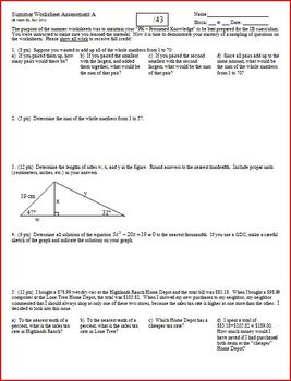 Quiz: IB Math SL Summer Worksheet Assessment 2012 - 2 versions - one page each