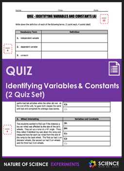 Quiz - Identifying Variables and Constants (2 Quiz Set)