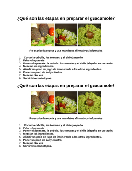 Quiz - Informal Commands (Guacamole Recipe)