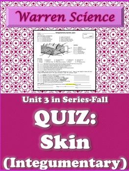 Quiz: Integumentary (Skin)-Unit 3 in Series (Fall)