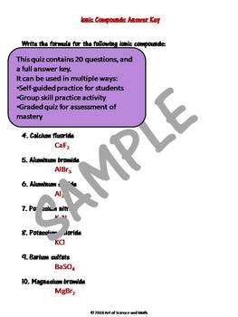 Quiz Ionic Compounds