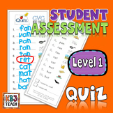 Word Families Quiz Packet (Dictation & Student Self-Assessment) LEVEL 1