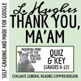 """Thank You, Ma'am"" by Langston Hughes - Quiz"