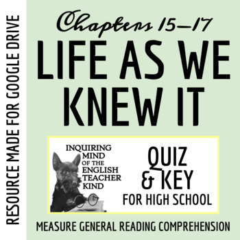Life As We Knew It Quiz (Chap. 15-17)