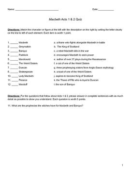 Quiz: Macbeth Act 1 & 2