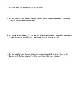 Quiz: Macbeth Act 5