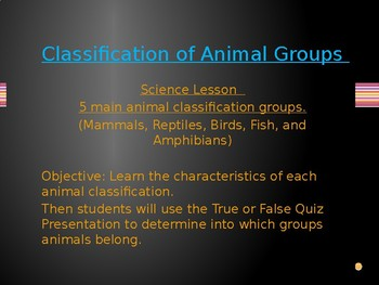 Quiz Me! Classifying Animal Groups