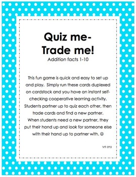 Quiz Me- Trade Me! Addition Facts 1-10