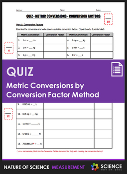 Quiz - Metric Conversions by Conversion Factor Method (Dimensional Analysis)