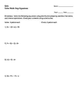 Quiz Multi-Step Equations