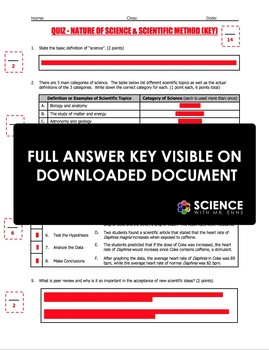 Quiz - Nature of Science, Scientific Method, Experimental Design (2 Quiz Set)
