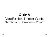 Num & Ops 04: QUIZ A on Classifying Numbers, Integers, and Coordinate Points