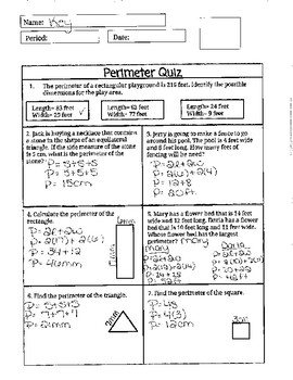 Quiz Perimeter of Square, Rectangle, and Triangle