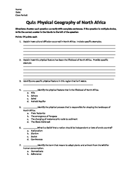 Quiz: Physical Geography of North Africa