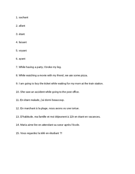 Quiz: Present Participles in French, Bien Dit Level 2 Chapter 9
