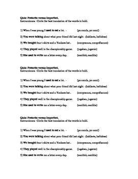 Spanish Quiz Preterite Vs Imperfect Worksheets & Teaching Resources | TpT