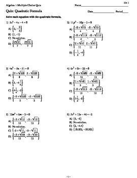 Quiz: Quadratic Formula_Quaducation