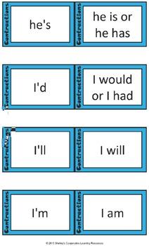 Quiz Quiz Cards- Contractions