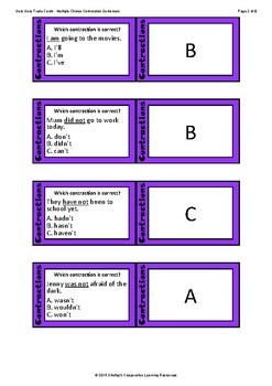 Quiz Quiz Cards- Contractions Multiple Choice