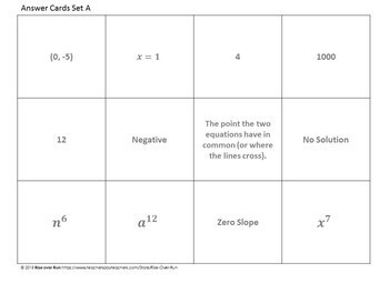 8th Grade Math Review Game