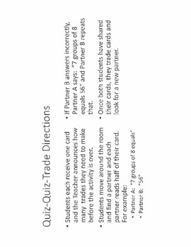 Quiz-Quiz-Trade Basic Multiplication Facts 0-12
