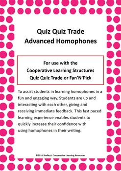Quiz Quiz Trade Cards - Advanced Homophones