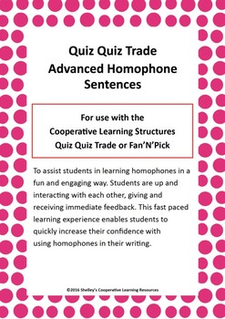 Quiz Quiz Trade Cards - Advanced Homophone Sentences