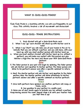 Back to School/ Getting-to-Know-You Quiz-Quiz-Trade-Cards + Instructions