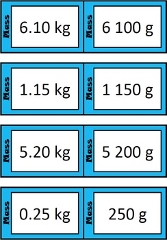 Quiz Quiz Trade Cards - Converting Grams To Kilograms