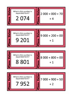 Quiz Quiz Trade Cards - Place Value Expanded Form To 9,999