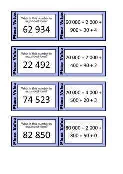 Quiz Quiz Trade Cards - Place Value Expanded Form To 99,999