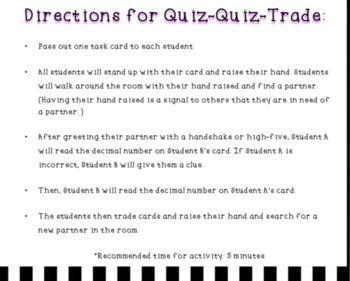 Quiz-Quiz-Trade Cards: Reading Decimals to the Hundredths Place