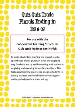 Quiz Quiz Trade Cards - 'es' and 'ies' Plurals