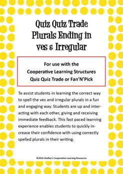 Quiz Quiz Trade Cards - 'ves' Plurals and Irregular Plurals