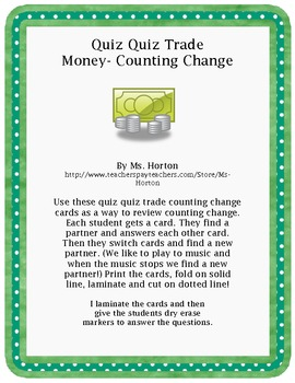 Quiz Quiz Trade: Counting Change