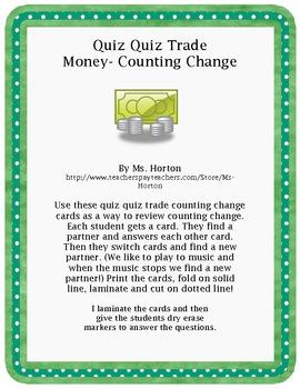 Quiz Quiz Trade: Counting Change