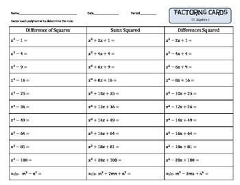 Quiz Quiz Trade Factoring Cards