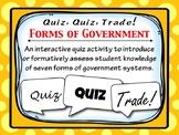 Quiz, Quiz, Trade: Forms of Government Interactive Activit