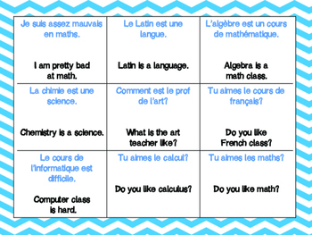 French School and Courses Vocabulary: Quiz-Quiz-Trade