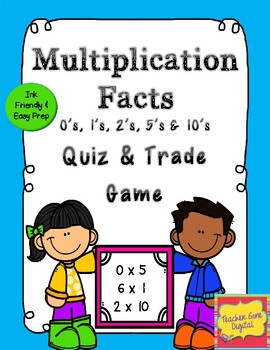 Quiz, Quiz, Trade Game for Multiplication facts 0's, 2's, 5's, and 10's