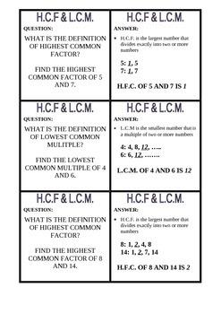Quiz Quiz Trade Highest Common Factor and Lowest Common Multiple