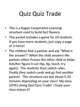 Quiz Quiz Trade Least/Greatest numbers to 20