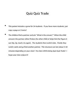 Quiz Quiz Trade Number Bonds to 20