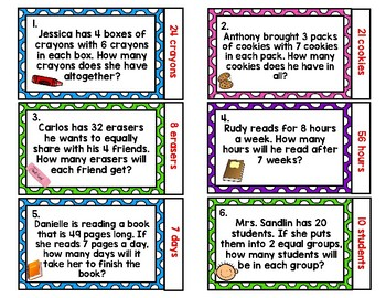 Quiz-Quiz-Trade One-Step Multiplication & Division Word Problem Task Cards